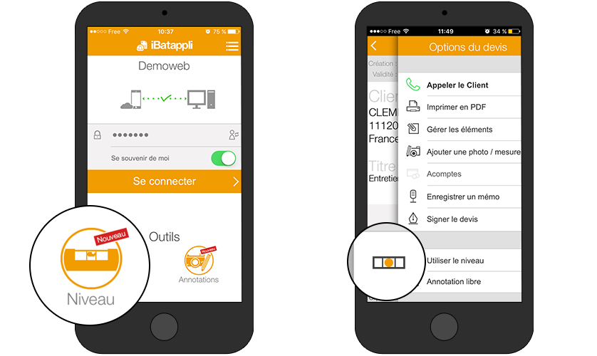 outils niveau application btp iphone android raccourci rapide facile simple