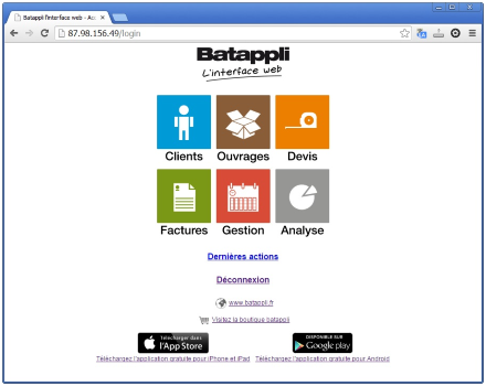 Interface Web de Batappli : Clients Ouvrages Devis Factures Gestion Analyse